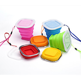 Square Silicone Stretch Folding Cup Children Drinking Cup Outdoor Travel Convenience Cake Cup Drink Cup 5878842