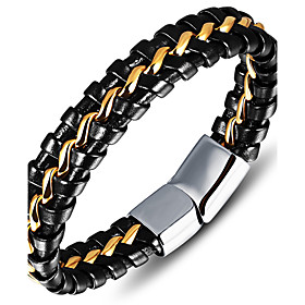 Men's Leather Bracelet Fashion Vintage Punk Hip-Hop Rock Costume Jewelry Leather Stainless steel Circle Round Geometric Jewelry For 5941502