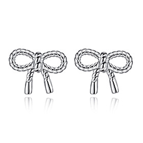 Women's Stud Earrings - Sterling Silver Bow Silver For Wedding Party Daily