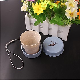 Plastic Portable Student Cute Daily Cup Vogue Outdoor Travel Wheat Straw Cup Telescopic Collapsible Portable Water Cup Ramdon Color 5985482