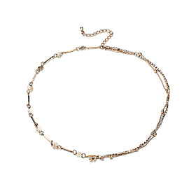 Lureme Sexy Gold Double Chain Crystal Anklet Bracelet Ankle Foot Jewelry Barefoot Beach Anklet 5917843