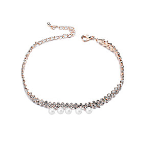 Lureme Womens Elegant Gold Tone Chain with Imitation Pearls Crytsal Anklet Jewelry 5917854