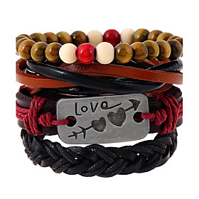 Korean Retro Punk Braided Leather Bracelet 5904198