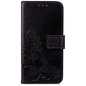 Trevo sortudo de quatro folhas em relevo com uma maleta de telefone móvel para a série de iphone 5879298