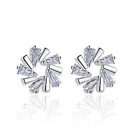 Women's AAA Cubic Zirconia Stud Earrings Sterling Silver Earrings Flower Snowflake Ladies Jewelry Silver For Wedding Party Daily Casual Masquerade Engagement P