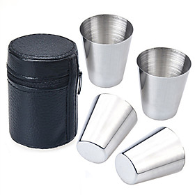 4PCS 30ML Stainless Steel Cup in Faux Leather Cover Tea Coffee Beer Whiskey Vodka Wine Shot Glasses Cups Mugs Drinkware Outdoor Travel Camping Cup Set 5985393