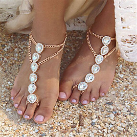 Women's Anklet Drop Imitation Pearl Rhinestone Alloy Fashion Barefoot Sandals Gold Silver Jewelry For Daily Casual 5894713