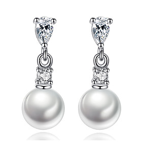 Drop Earrings Pearl Jewelry Korean Style Delicate Elegant Classic White Rhinestone Leaf Lady Daily Party Movie Gift 5918200