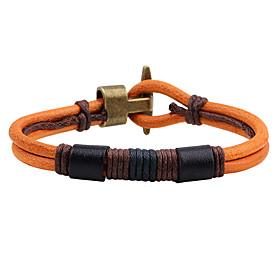 Men's Leather Bracelet Fashion Vintage Punk Hip-Hop Rock Costume Jewelry Leather Circle Round Geometric Jewelry For Birthday Dailywear 5928180