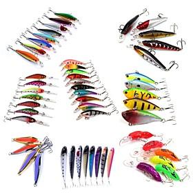 HiUmi Lot 53 pcs Hard Bait Metal Bait Swimbaits Minnow Crank Pencil Vibration/VIB Lure kits Fishing Lures Metal Bait Hard Bait Spoons Minnow Crank 6066650