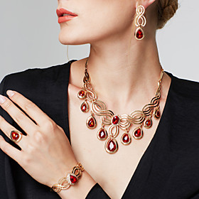 Women's Synthetic Ruby Cut Out Jewelry Set - 18K Gold Plated, Rhinestone Floral Theme, Flower Statement, Luxury, Bohemian Include Drop Earrings Statement Neckl