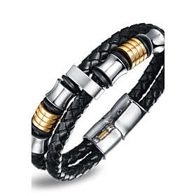 Men's Women's Bangles Natural Multi Layer Costume Jewelry Fashion Faux Leather Stainless steel Round Jewelry For Party Birthday Party/ 6004933