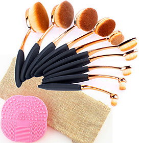 10PCS Pro Fashion Makeup Brushes Synthetic Hair Rose Gold Oval Toothbrush Shape Cosmetics Brushes Tools Set with 1 Bag1 Silicone Brush Cleansing Pad 6064370