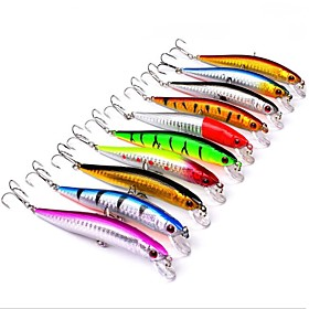 "10 pcs Hard Bait Swimbaits Minnow Fishing Lures Hard Bait Minnow g / Ounce, 100 mm / 4"""" inch, Hard Plastic Sea Fishing Bait Casting"" 6066647"