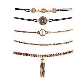 5pcs Women's Cubic Zirconia Chain Bracelet Bracelet Set Zircon Silver Plated Friends Ladies Fashion Bracelet Jewelry Gold For Christmas Gifts Wedding Party Spe