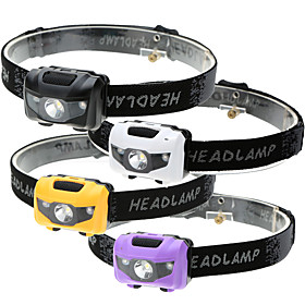 Headlamps LED LED Emitters 500 lm 4 Mode Waterproof 3 Modes LED Light Camping / Hiking / Caving Everyday Use Cycling / Bike Black Purple Yellow