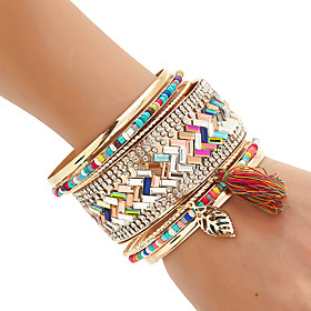 Women's Bangles Cuff Bracelet Wrap Bracelet Rock Handmade Multi Layer Costume Jewelry Fashion Bohemian Mixed Materials Resin Mixed 5995309