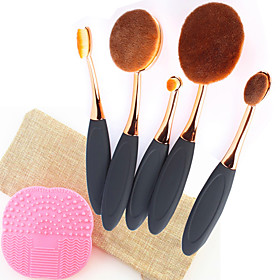 5PCS Pro Fashion Makeup Brushes Synthetic Hair Rose Gold Oval Toothbrush Shape Cosmetics Brushes Tools Set with 1 Bag1 Silicone Brush Cleansing Pad 6064371