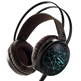 Stereo PC Gaming Headset 7 Colors Breathing LED Light Over-ear Headphones with Microphone Inflected for Comtuper Games 6065121