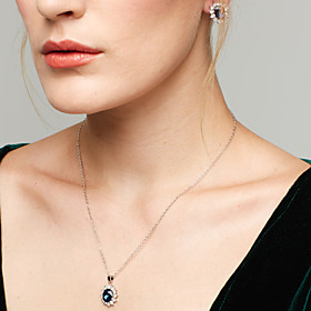 Women's Sapphire Synthetic Sapphire Jewelry Set Cubic Zirconia, Rhinestone Ladies, European, Fashion, Elegant, Plaited Include Stud Earrings Pendant Necklace B