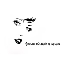 Beauty Character Eye Vinyl Wall Stickers You are the Apple of MY Apple Quote Wall Decals Home Decor For Couples Living Room
