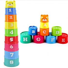 Excellent Baby Children Kids Educational Toy New building Block Figures Letters Folding Cup Pagoda Gift 9Pcs/set Ramdon Color 6041853