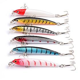 6 pcs Hard Bait Minnow Lure kits Fishing Lures Hard Bait Minnow Lure Packs g / Ounce mm inch, Plastics Sea Fishing Bait Casting Spinning 6068665