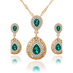 Women's Crystal Jewelry Set - Crystal, Rhinestone Drop Luxury, Dangling Style, Fashion Include Necklace / Earrings Bridal Jewelry Sets Red / Green / Blue For W