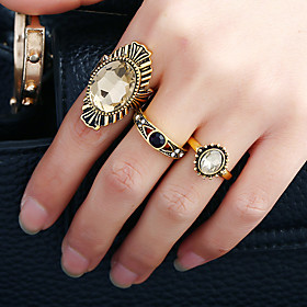Women's Band Ring Ring Open Cuff Ring - Rhinestone, Alloy Rock, Fashion, Euramerican Adjustable Gold For Birthday Date Street