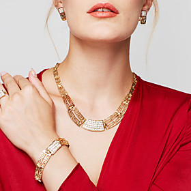 Women's Cubic Zirconia Jewelry Set 18K Gold Plated, Gold Plated Statement, Ladies, Vintage, Party, Casual, Fashion Include Statement Necklace Earrings Bracelet