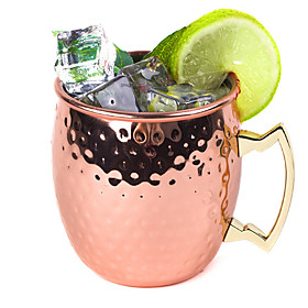 Hammered Copper Plated Stainless Steel 530ml Moscow Mule Mug Drum-Type Beer Cup Coffe Cup Water Glass Drinkware 4871338