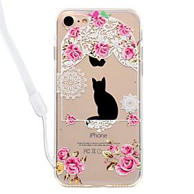 Caso per il backplane acrilico del modello del fiore del gatto del iphone 7plus 7 e la cordicella 6s del collo del bordo del tpu più 6plus 5997210