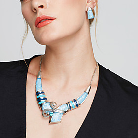 Women's Jewelry Set - Silver Plated Statement, European, Fashion Include Stud Earrings Bib necklace Blue / Rainbow For Party Daily Casual / Necklace