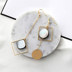 Women's Mismatched Long Drop Earrings Shell Earrings Ladies Fashion Euramerican Jewelry Gold For Party