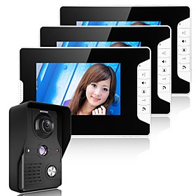 MOUNTAINONE 7 Inch Video Door Phone Doorbell Intercom System  Kit 1-Camera 3-Monitors Night Vision