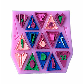 Alphabet Silicone Cake Mold Bunting Flag Cupcake Candy Mould Baking Tools Kitchen Accessories Random Color 6144119
