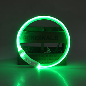 Dog Collar LED Lights Adjustable / Retractable Rechargeable Solid Colored TPU Green Blue Pink