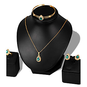 Women's Cubic Zirconia Jewelry Set - Zircon, Rose Gold Plated Ball Fashion Include Bracelet Bangles Stud Earrings Necklace White / Red / Green For Wedding Part