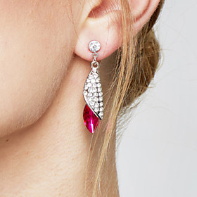 Women's Sapphire Crystal Drop Earrings Crystal Earrings Drop Statement Ladies Fashion Elegant Jewelry Green / Pink / Light Blue For Wedding Party Birthday Gift