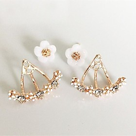 Women's Crystal Stud Earrings Front Back Earrings / Ear Jacket - Rhinestone, Silver Plated, Gold Plated Floral / Botanicals, Friends, Heart Personalized, Basic