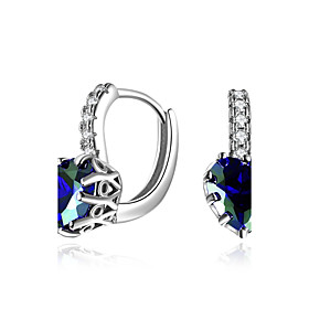 Women's Cubic Zirconia Synthetic Diamond Clip Earrings - Zircon, Emerald Luxury, Natural, Hip-Hop Gold / Silver For Party Graduation Stage