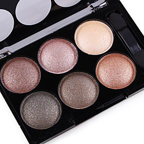 Alpha Pro 6 Color Natural Glitter Silky Shimmer Naked Eye Shadow Plate Nude Eyeshadow Powder Smoky Eyes Makeup Cosmetic Palette  Brush Set 6159341