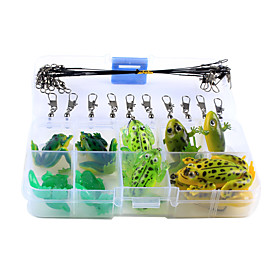 Anmuka 30Pcs/Set Mix Frog Fishing Lure Single Hook Double Hook Frog Soft Artificial Bait Lures 6143041