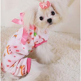 Hund Pyjamas Hundetøj Afslappet/Hverdag Tegneserie Gul Grøn Lys pink 6130851