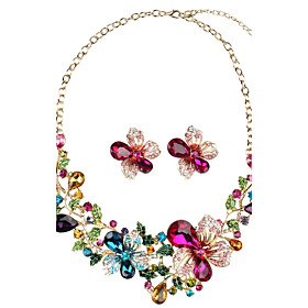 Women's Synthetic Diamond Geometric Jewelry Set - Floral / Botanicals, Flower Personalized, Luxury, Vintage Include Stud Earrings Necklace Rainbow For Party Gi