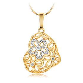 High Quality Women's Hollow Flower Heart Gold Plated Pendant Necklaces Chain Statement Necklace with Diamond Wedding Engagement Gift 6144214