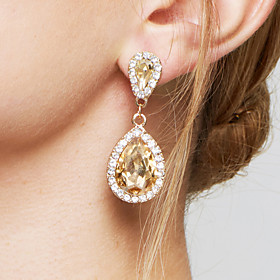 Women's Champagne AAA Cubic Zirconia two stone Drop Earrings Crystal Zircon Imitation Diamond Earrings Drop Ladies Fashion Elegant Bridal Jewelry Champagne For
