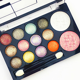 Professional 2in1 BlusherEyeshadow 12 Glitter Shimmer Color Eyeshadow2 Blush Neutral Nude Eye Shadow Cosmetic Makeup Palette Set with Brush Mirror 6166775
