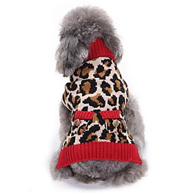 Cat Dog Coat Sweater Christmas Dog Clothes Party Cosplay Casual/Daily Keep Warm Wedding New Year's Leopard Leopard Costume For Pets 6182984