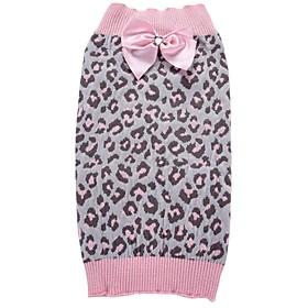 Кошка Собака Плащи Свитера Рождество Одежда для собак Леопард Розовый Спандекс Хлопко-льняная смешанная ткань Костюм Для домашних животных 6189191